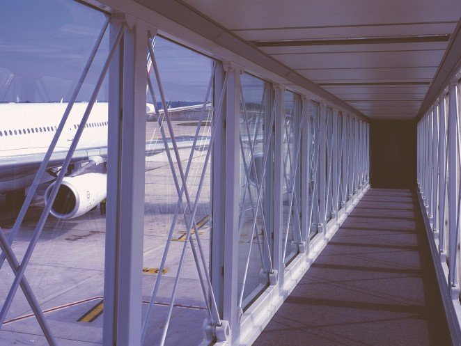 Clever solutions for travelers at airports - passenger boarding bridges