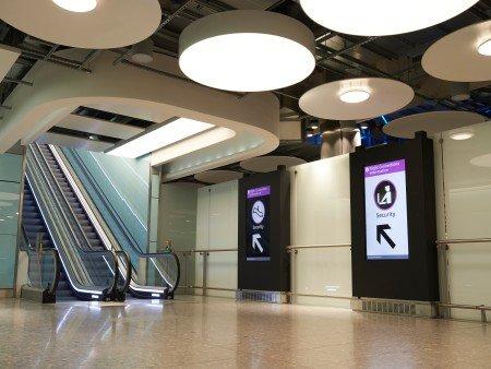 escalator heathrow airport london united kingdom