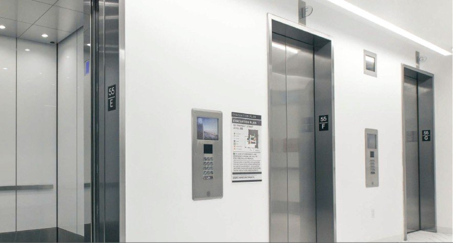 55th floor elevator lobby equipped with AGILE Destination Dispatch and a Variable Message System.