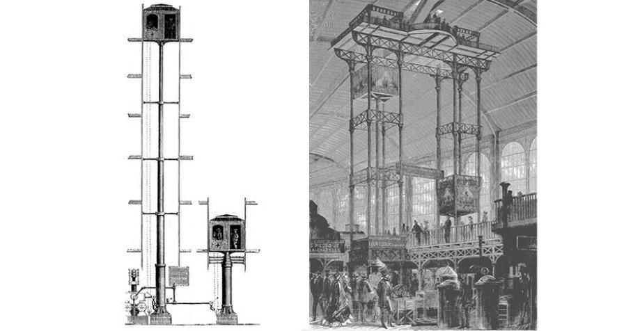 Two illustrations - one of a Thursby elevator in the 1870s and another of Léon Édoux's 1867 hydraulic elevator.