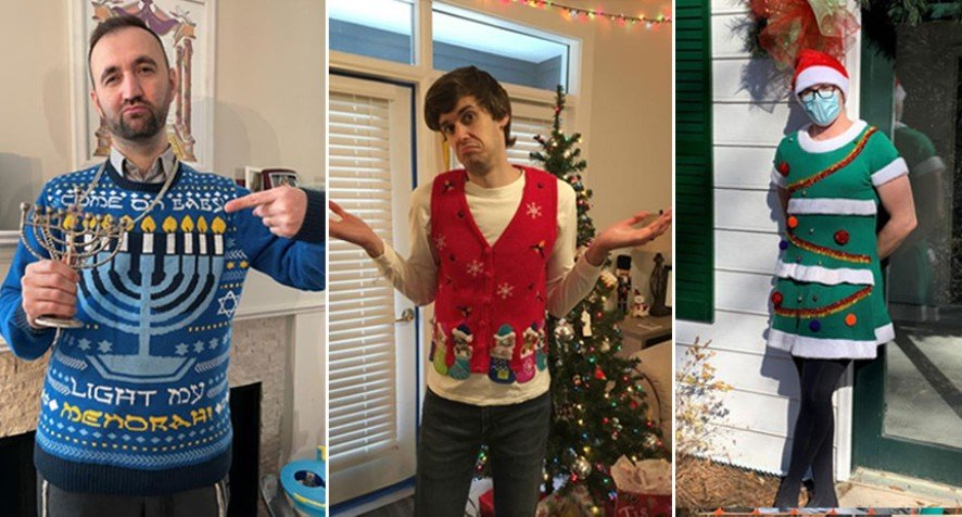 Three examples of holiday sweater contest entrants