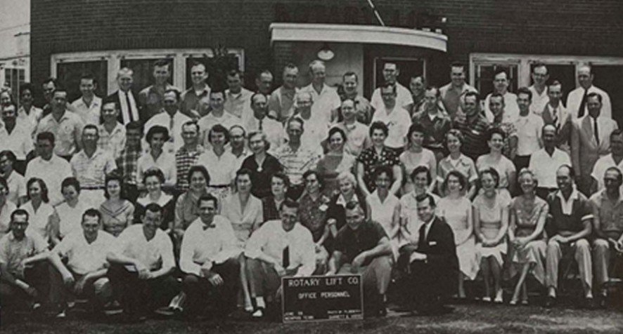 A group photo of Rotary Lift employees from 1959